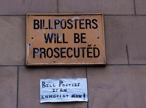Bill Posters je nedolžen dokler mu ni dokazana krivda!