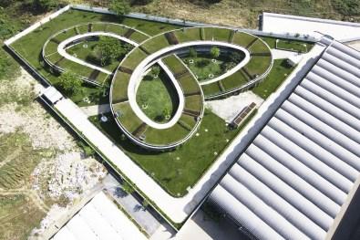 Krivulje strehe se medsebojno prepletajo.