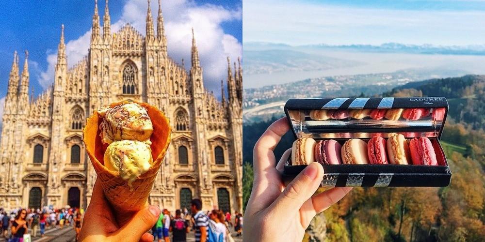 Sladoled v Milanu (levo) in Makroni v Zürichu (desno).
