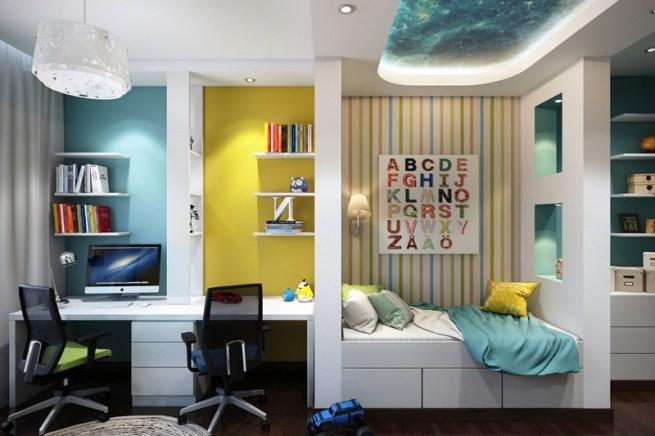 Otroška soba v modro-rumenih odtenkih