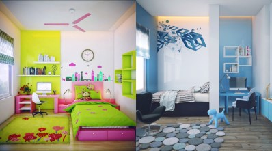 Otroška sova v rožnatem in otroška soba v modrem