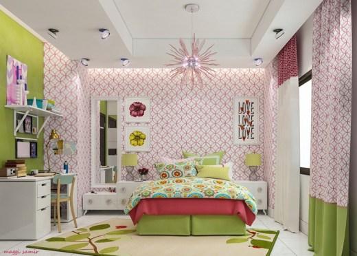 Otroška soba v rožnato-zeleni kombinaciji