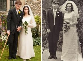 Eddie Redmayne in Felicity Jones kot Stephen Hawking in njegova žena Jane Wilde
