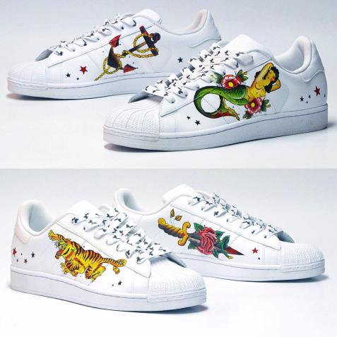 Top personalizirane superge: Adidas Superstar 'Old Style Traditional Tattoos'