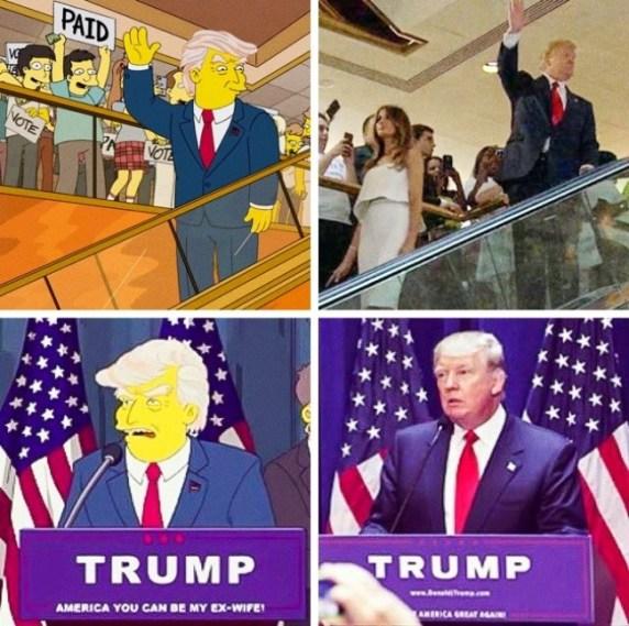 Napoved Trumpove zmage v animirani nanizanki Simpsonovi