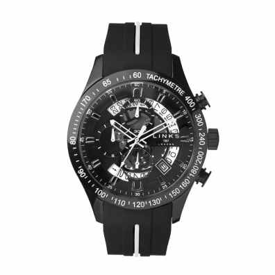 4. Links of London Skeleton Black Rubber Strap Chronograph