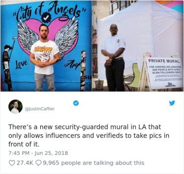 V Los Angelesu obstaja stena, ki je namenjena zgolj osebam, ki imajo verificirane račune na Instagramu in Twitterju.