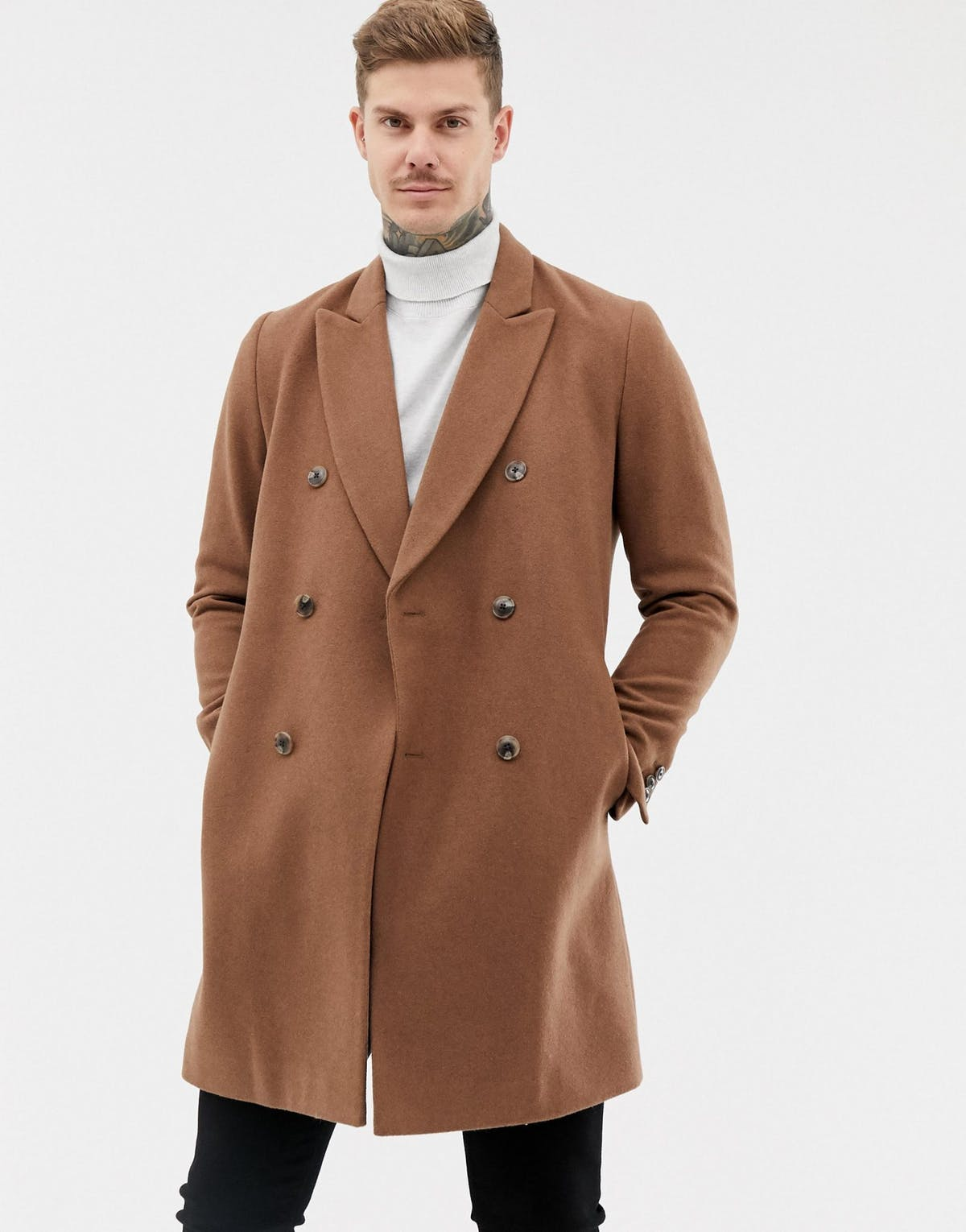 Asos Design Wool Mix Double Breasted Overcoat.