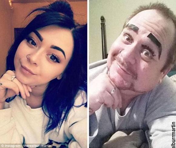 Oče, ki poustvarja hčerine selfije.