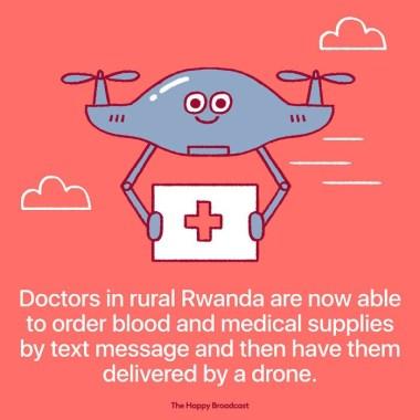 Zdravniki v ruralnih delih Ruande lahko naročijo medicinske pripomočke in kri tako, da pošljejo sporočilo, dron pa jim pošiljko dostavi.