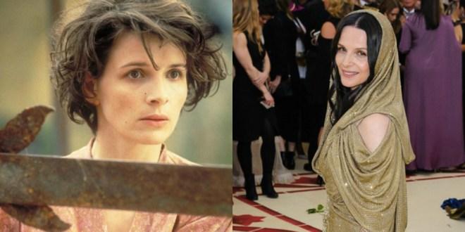 Juliette Binoche v filmu Angleški pacient (1996) in leta 2018, stara 54 let.