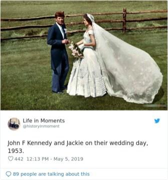 John F. Kennedy in Jackie na poročni dan, 1953.