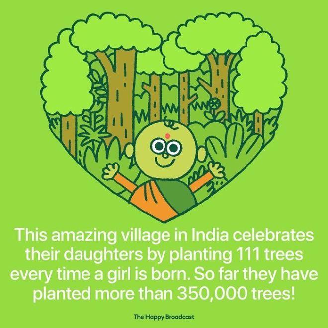 Vas v Indiji za vsako deklico, ki se rodi, zasadi 111 dreves.
