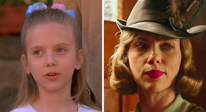 Scarlett Johansson v filmu Sever (1994) in v Zajec Jojo (2019).