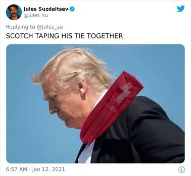Ko je zlepil kravato s selotejpom