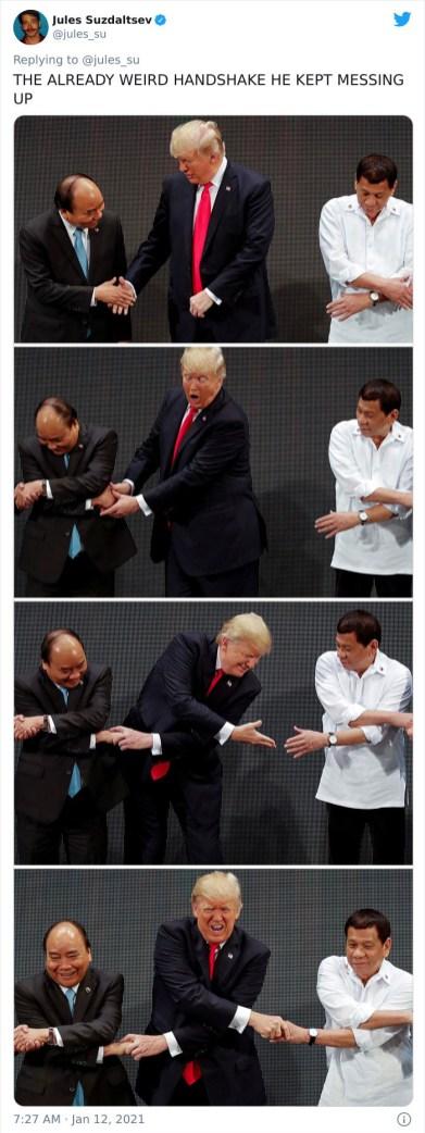 Njegovo čudno rokovanje, ki je postajalo vedno bolj čudno
