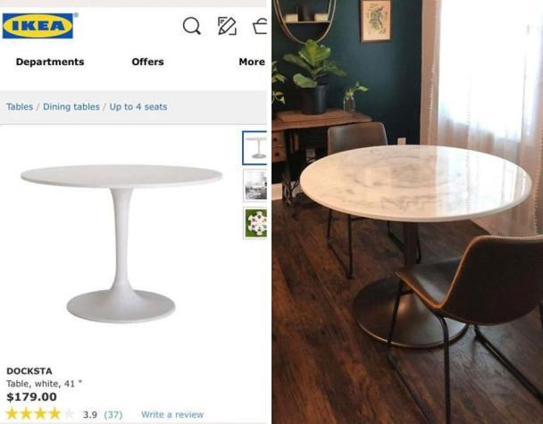 """""""Marmornata miza, ki sem jo želel kupiti, je bila predraga, zato sem plastično mizo Docksta predelal v mizo svojih sanj – z barvo v spreju, epoksidom in gorilnikom."""" Foto: Boredpanda"""