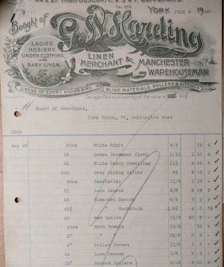 1928 invoice for linen