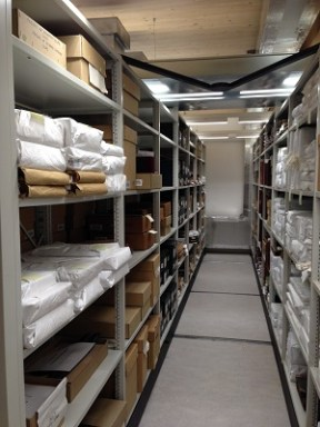 Archive store shelves holding the Workhouse and Poor Law Union collections