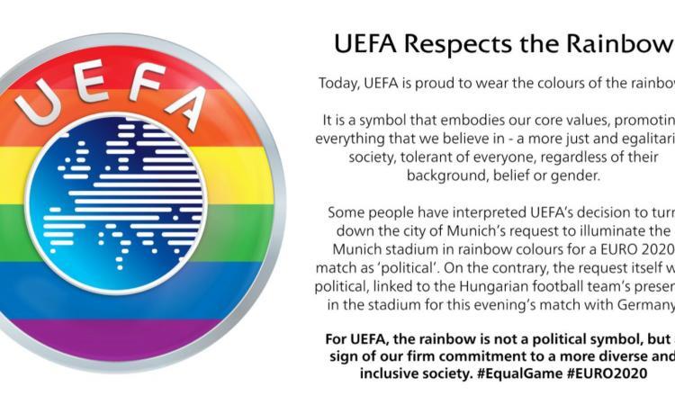 la-uefa-replica-alle-polemiche:-'rispetto-per-l'arcobaleno,-abbiamo-respinto-una-richiesta-politica.-siamo-per-una-societa-piu-equa'