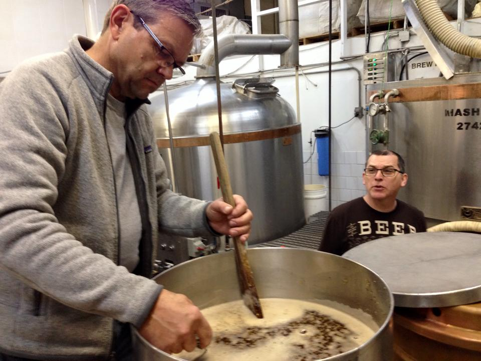 Neil Herbst and Jason Foster brewing a special ECAMP edition brew.