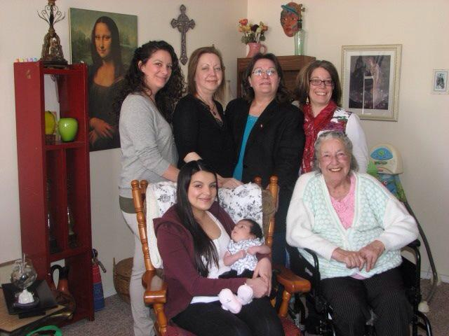 Thelma Chalifoux. seated on the right, and family. Image courtesy of Sharon Morin.