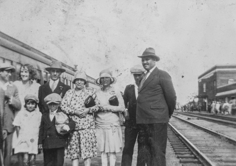 Caption: The Scrivano family on their arrival at the Edmonton train station circa 1920s. Image courtesy of the Provincial Archives of Alberta A10878.