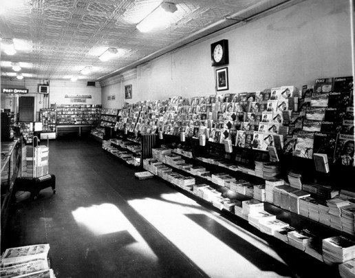 Interior of Mike's News, 1949. City of Edmonton Archives, EA-160-1369