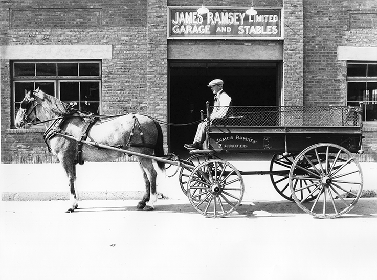 James Ramsey Garage & Stable Transportation - Delivery Wagon. Image courtesy of the City of Edmonton Archives EA-160-148.
