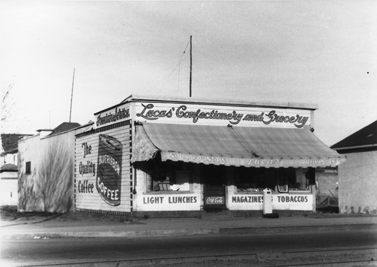 Lucas' Confectionery & Grocery (The Tavern) October, 1934. Photo courtesy of the City of Edmonton Archives EA-160-937.