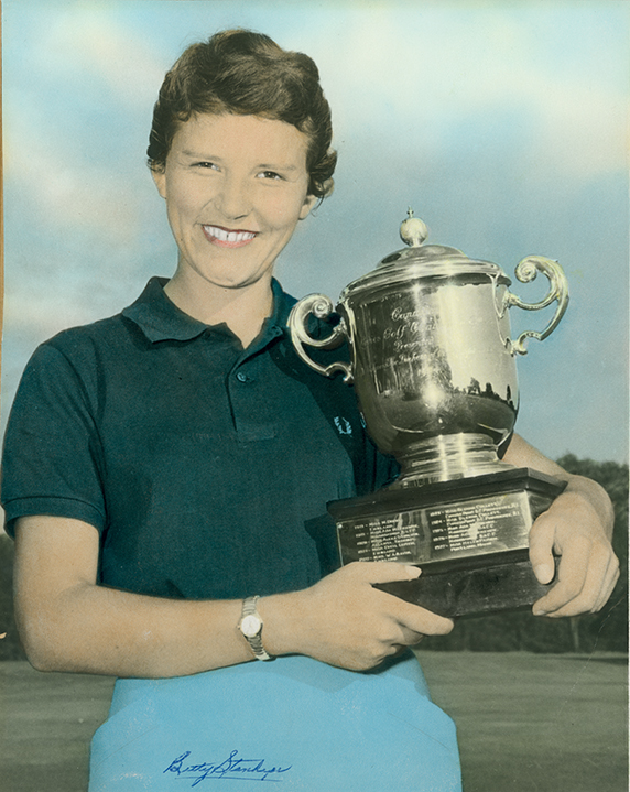 Betty Standhope-Cole with championship trophy, 1957. Photographed by Ted Harrison. Image courtesy of the City of Edmonton Archive EA-20-270.
