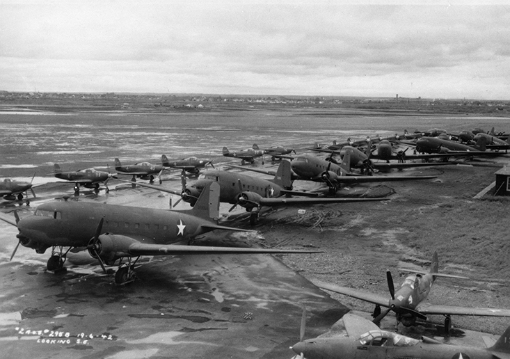 Landlease to Russia - planes lined up at Blatchford Field c. 1944. Image courtesy of the City of Edmonton Archives.