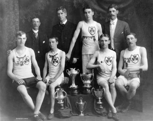 Irish Athletic Club, 1908. Alex Decoteau is standing, second from right. City of Edmonton Archives, EA-302-85.
