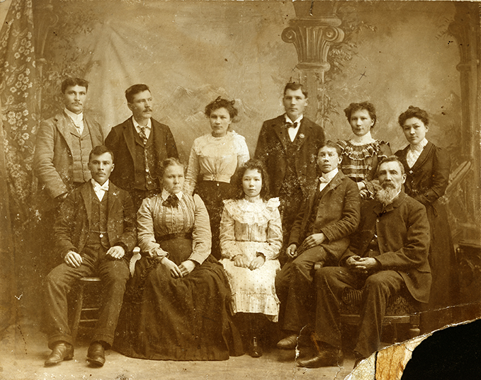Portrait of Garneau family, c. 1910. Back row - Larry, Louis, Victoria, Alex, Charolotte, Archangel Front row - Edward (Ned), Eleanor (Mother), Millie, John, Laurent (Father). Photo courtesy of the City of Edmonton Archives EA-58-4.