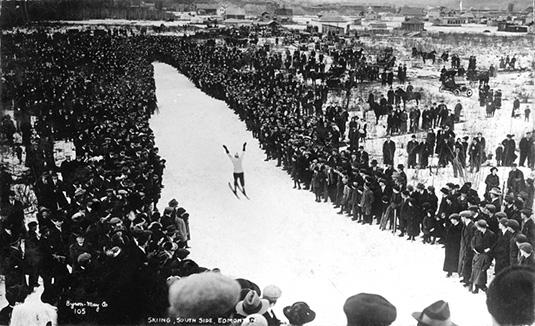 John Haugen ski jumping. Image courtesy of the City of Edmonton Archives EB-23-28.