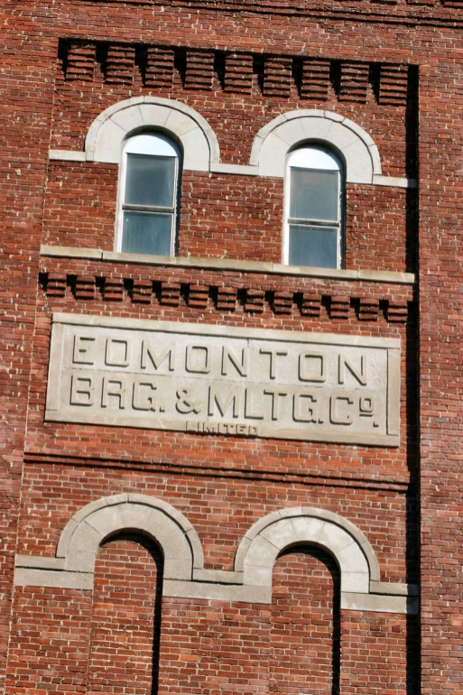 Edmonton Brewing & Malting Company sandstone sign on main tower, 2006. Photo by Lawrence Herzog.