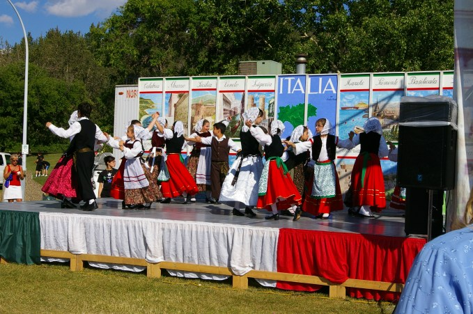 Young people perform traditional Italian dances on stage at the Italian Pavilion at Heritage Festival in Hawrelack Park. Image courtesy of E. R. Cavaliere, supplied by Adriana A. Davies.