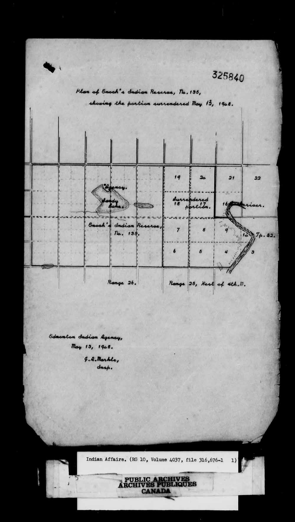 Map of the Area Surrendered. Edmonton Agency - Stony Plain Reserve - General Correspondence Regarding a Second Land Sale (Maps). Image courtesy of the Library and Archives Canada, Online MIKAN no. 2061667.
