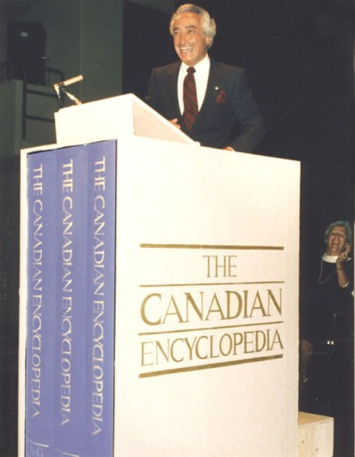 Mel Hurtig at The Canadian Encyclopedia Launch. Image courtesy of The Canadian Encyclopedia, Historica Canada www.thecanadianencyclopedia.ca.