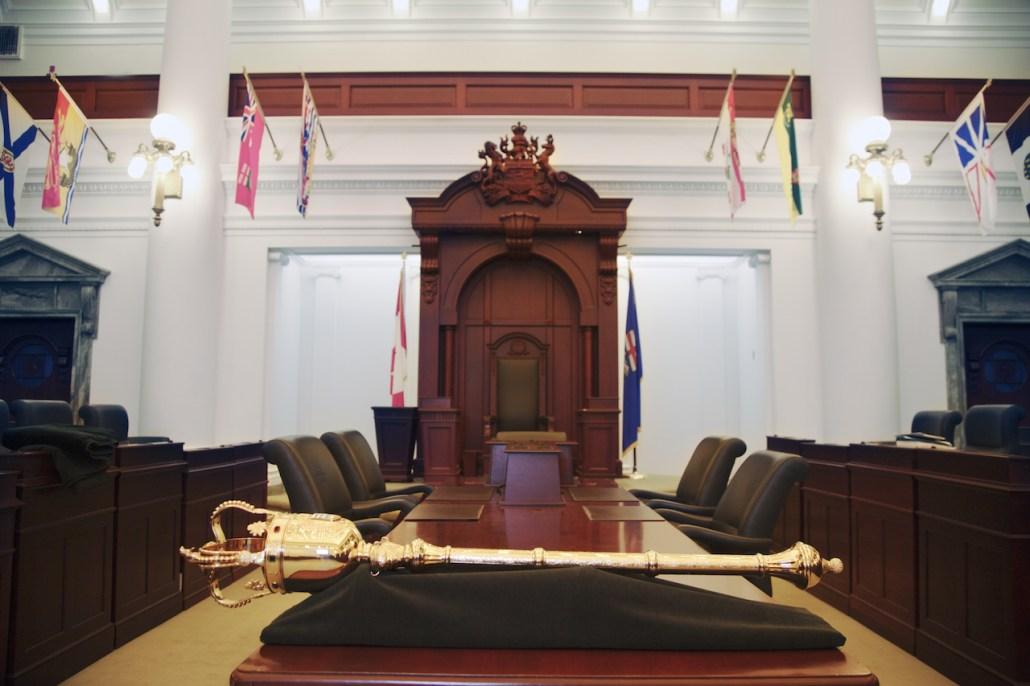 The New Legislature Mace in the Legislature Chambers. Image courtesy of the Alberta Legislative Assembly Office, 2016