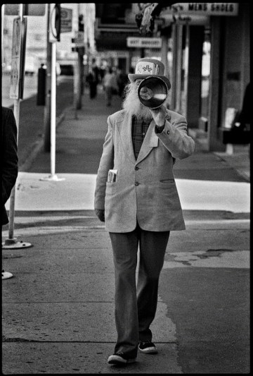 Peter Jamieson walking down 102 Street across from the Hudson' Bay store, 1978. Photo by Richard Siemens.