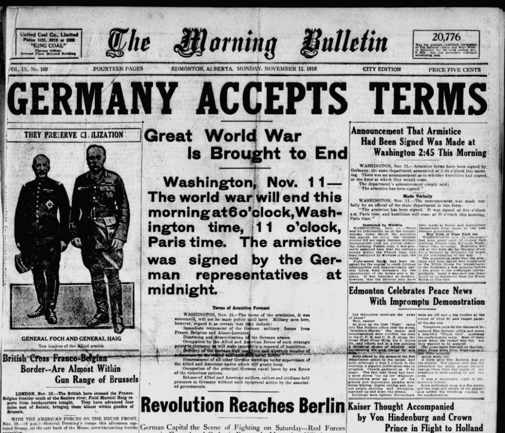 The Edmonton Bulletin front page, November 11, 1918.