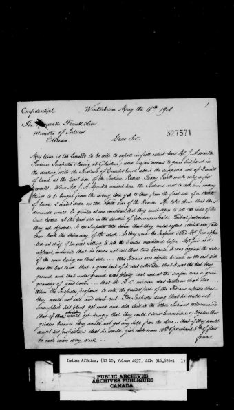 Letter from Father Christophe Tissier. Edmonton Agency - Stony Plain Reserve - General Correspondence Regarding a Second Land Sale. Image courtesy of the Library and Archives Canada, Online MIKAN no. 2061667.