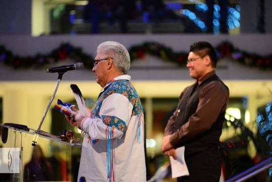 Elder Gilman Cardinal gives an Opening Prayer. Photo from RiSE Round Dance at City Hall. Photos courtesy of Gibby Davis Photography.