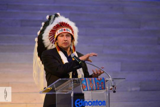 Grand Chief Tony Alexis provides welcoming remarks to the event. Photo from RiSE Round Dance at City Hall. Photos courtesy of Gibby Davis Photography.