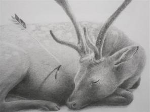 """Detail from """"Deer""""."""