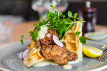 Chicken waffles at No. 10 Restaurant + Bar. Photo by Andrew Finch