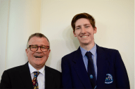 Principal of St Mary MacKillop College Michael Lee with award-winner Ben Jenkins.