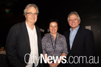 Canberra Theatre Centre's outgoing director Bruce Carmichael, Gill Hugonnet and Henry Laska