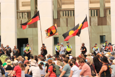 Protestors at Parliament House. Photo: Mike Welsh